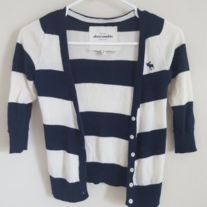 Abercrombie & Fitch Cardigan Blue and White Stripe